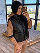 Женский спортивный костюм двойка - теплый комбинезон и черный кожаный жилет (р. 42-46) 66rt1096Q, фото 2