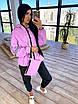 Женский спортивный костюм из плащевки на подкладе с кофтой на молнии и с капюшоном 66rt1097Е, фото 9