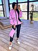 Женский спортивный костюм из плащевки на подкладе с кофтой на молнии и с капюшоном 66rt1097Е, фото 10