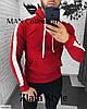 Мужской батник с капюшоном. Ткань: турецкая двухнить.  Цвета: электрик, красный, меланж., фото 3