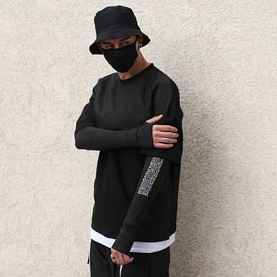 Лонгслив мужской черный двойной размеры S, M, L, XL брендовый модель Scorpion