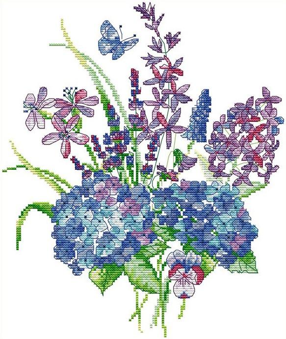 Набор для вышивания крестом 29х34 Голубой букет Joy Sunday H856