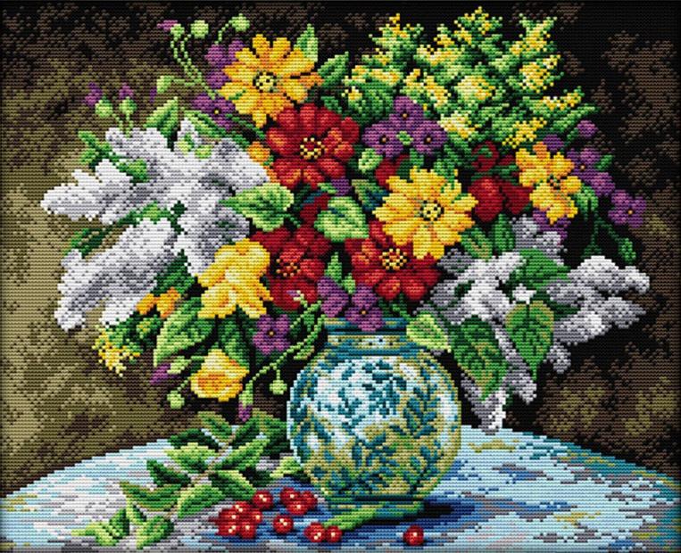 Набор для вышивания крестом 45х37 Прекрасная ваза Joy Sunday H359