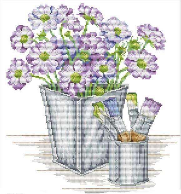 Набір для вишивання хрестом 36х38 Квіти і фарби Joy Sunday H711