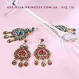 Комплект колье, тика, серьги в индийском стиле под золото с красными камнями, фото 3
