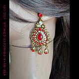 Комплект колье, тика, серьги в индийском стиле под золото с красными камнями, фото 9