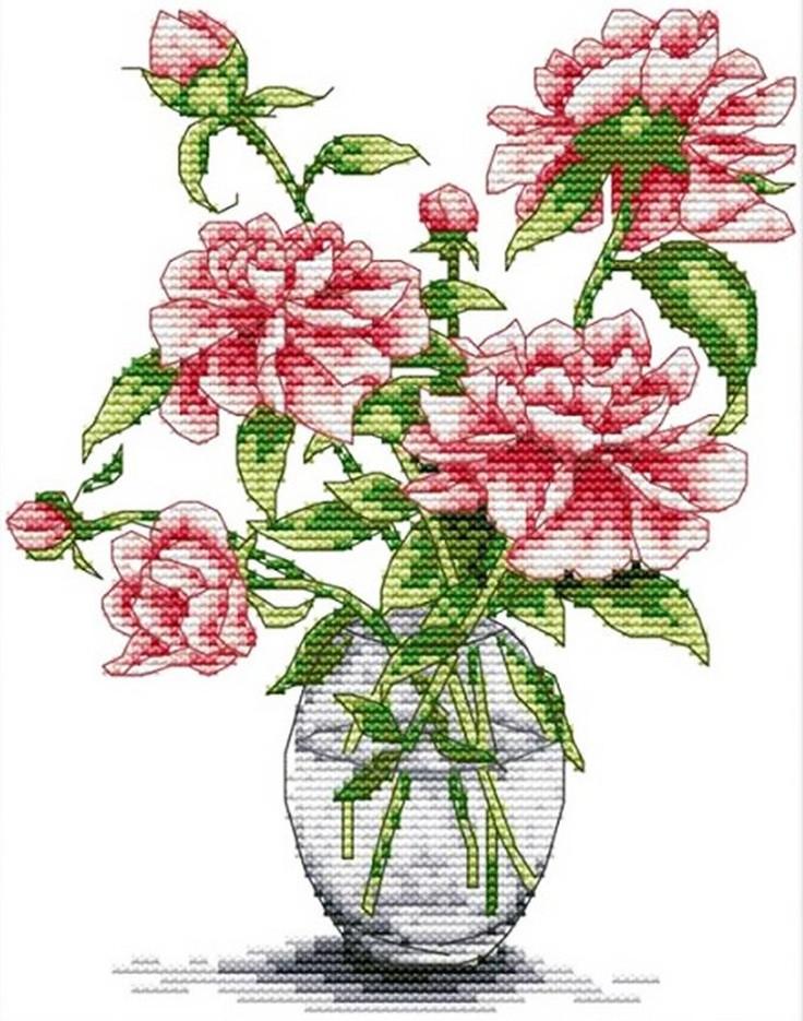 Набір для вишивання хрестом 21х27 Троянди у вазі Joy Sunday H026