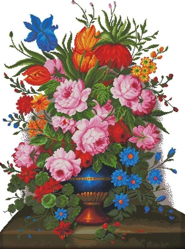 Набор для вышивания крестом 54х70 Цветы в вазе Joy Sunday H730