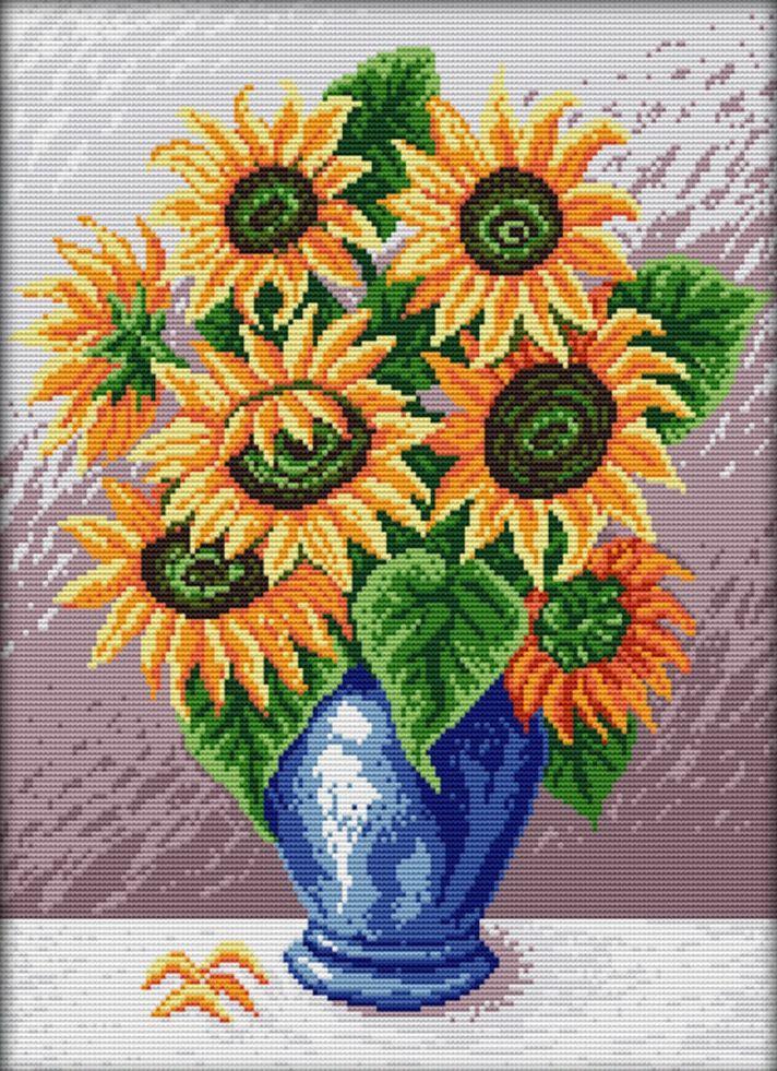 Набор для вышивания крестом 36х44 Подсолнухи в синей вазе Joy Sunday H287