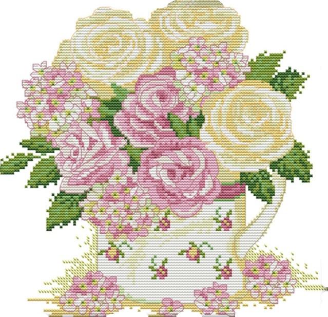 Набор для вышивания крестом 30х30 Нежные розы Joy Sunday H348