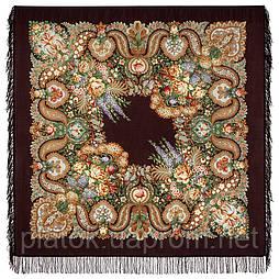 Над серебряной водой 734-17, павлопосадский платок шерстяной  с шерстяной бахромой