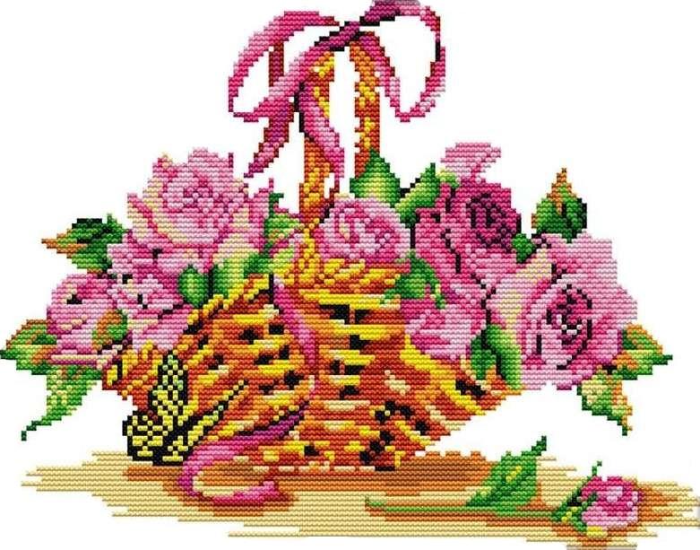 Набор для вышивания крестом 33х27 Розы в корзинке Joy Sunday H395