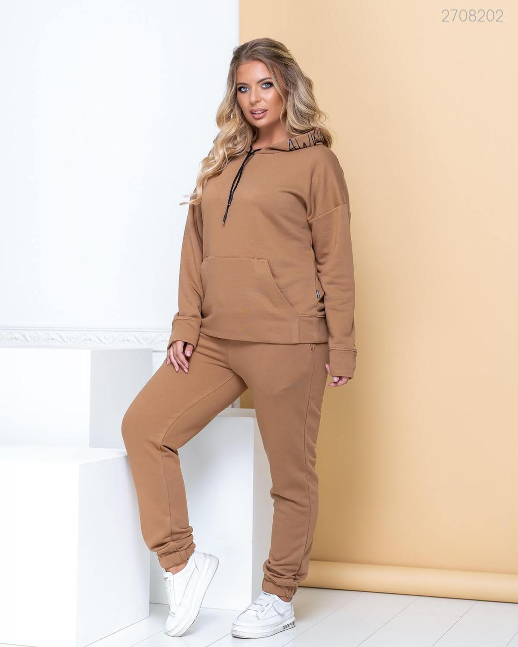 Женский утепленный спортивный костюм в больших размерах с худи 83uk799