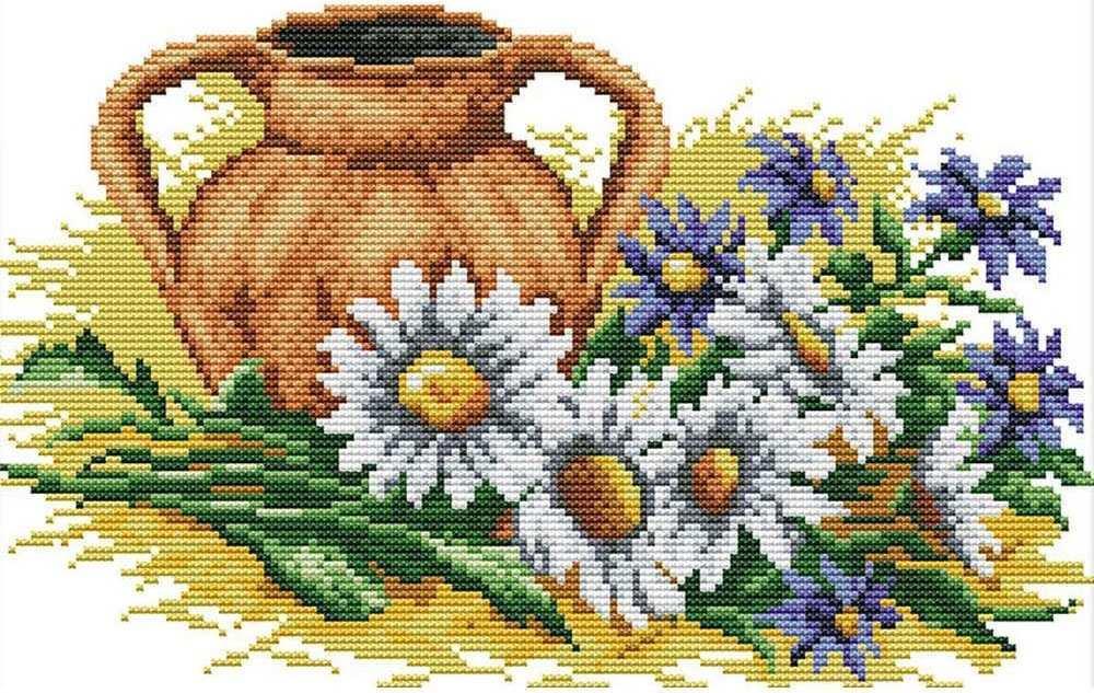 Набор для вышивания крестом 34х25 Ромашки и глиняный кувшин Joy Sunday H554
