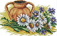 Набор для вышивания крестом 34х25 Ромашки и глиняный кувшин Joy Sunday H554, фото 1