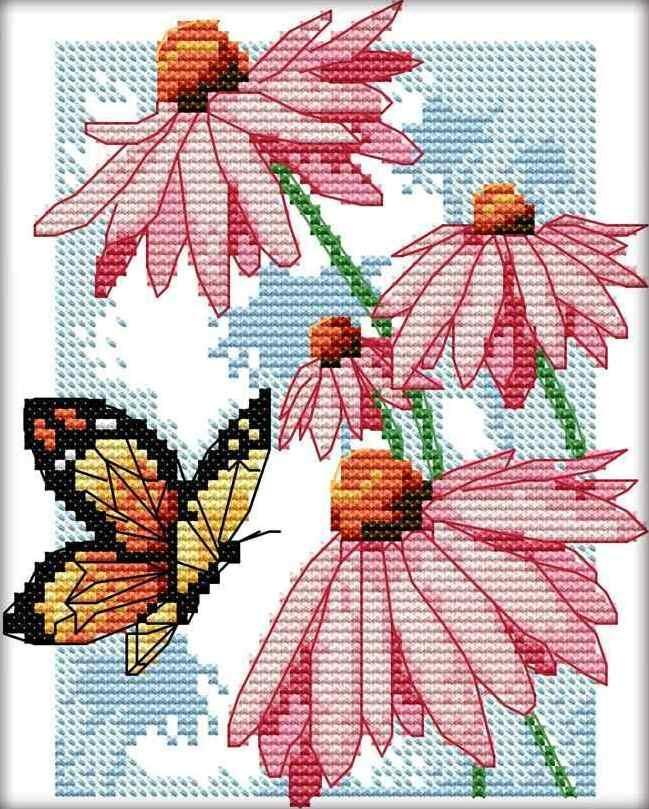 Набір для вишивання хрестом 17х19 Квіти і метелик Joy Sunday H590