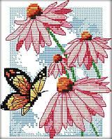 Набір для вишивання хрестом 17х19 Квіти і метелик Joy Sunday H590, фото 1