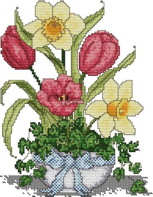 Набір для вишивання хрестом 29х39 Тюльпан і нарцыс Joy Sunday H398