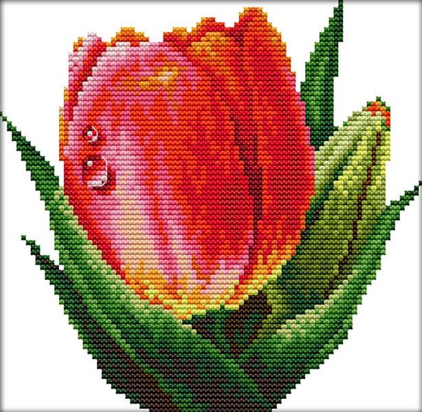 Набор для вышивания крестом 21х20 Тюльпан Joy Sunday H410