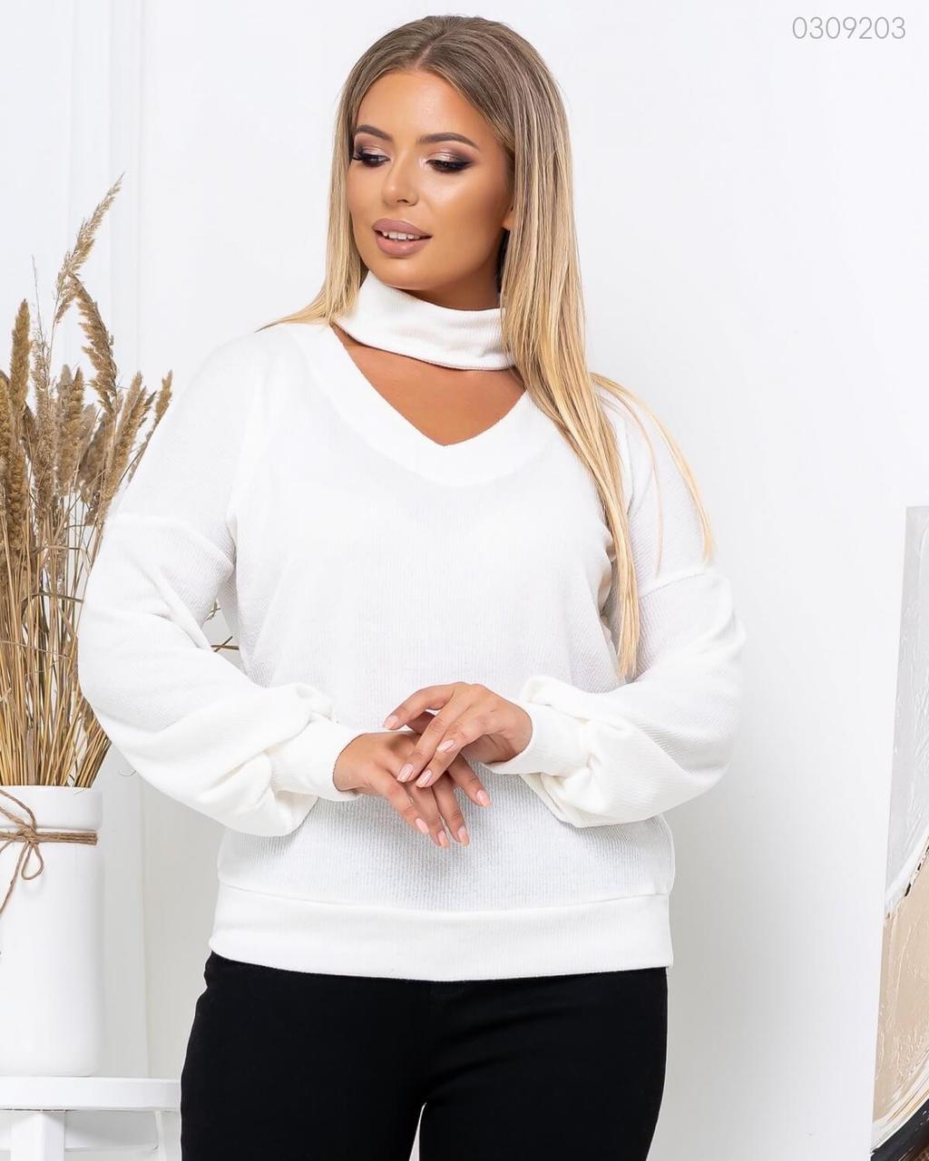 Женский вязаный свитер в больших размерах с V-вырезом, чокером и рукавами фонариками 83uk805