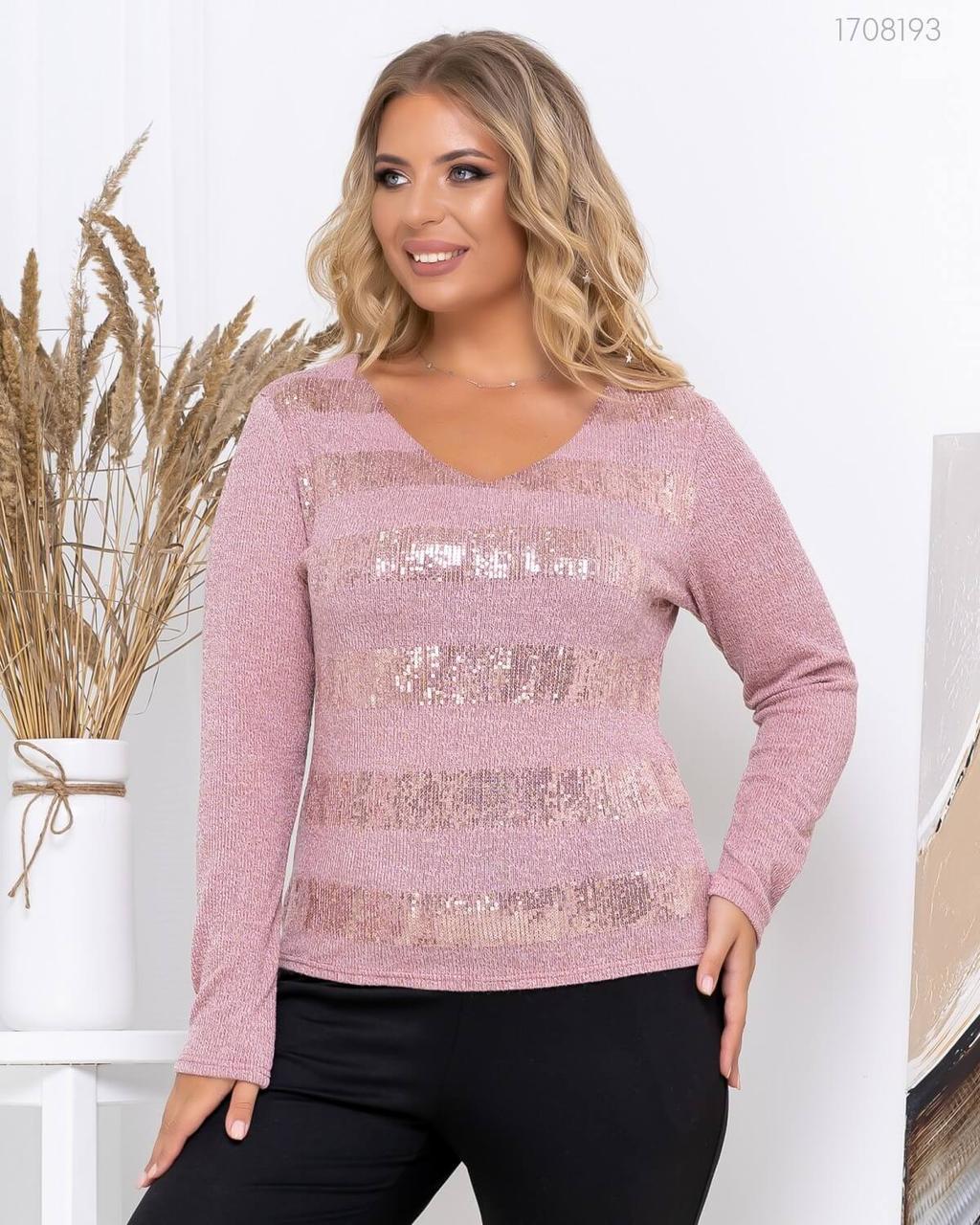 Женский ангоровый свитер в больших размерах с полосками из пайеток 83uk806