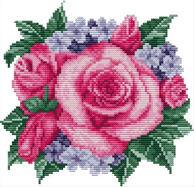 Набор для вышивания крестом 22х22 Куст роз Joy Sunday H083
