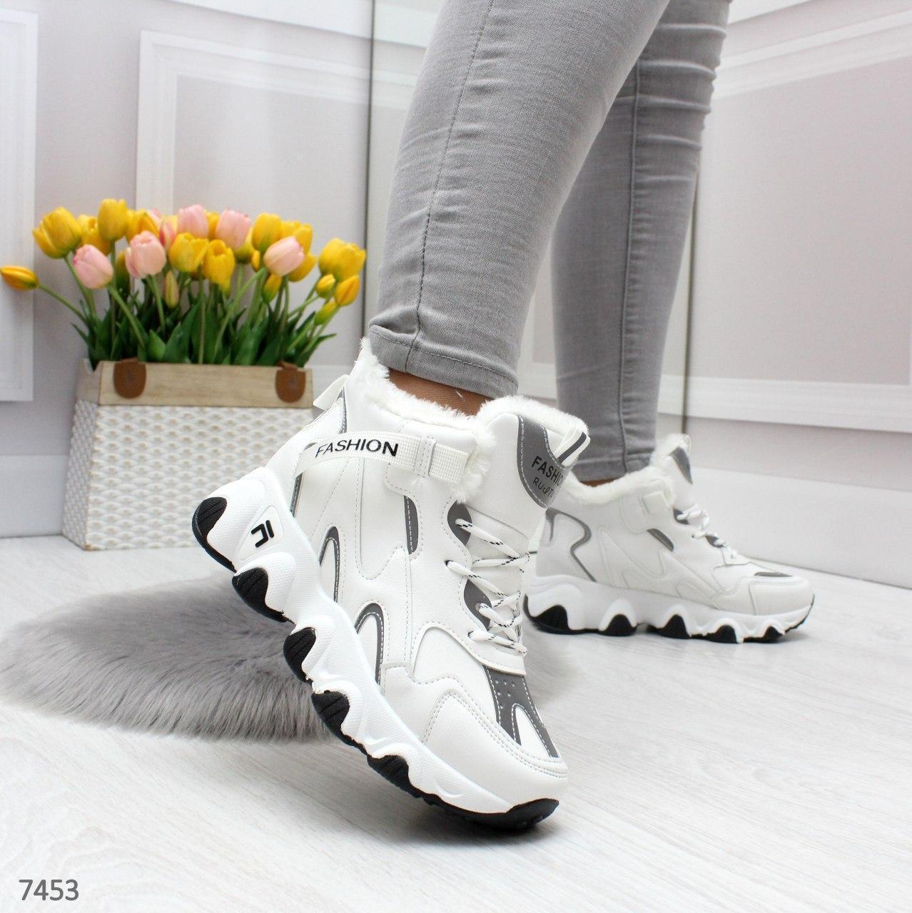 Женские зимние кроссовки на меху со светоотражающими вставками OB7453