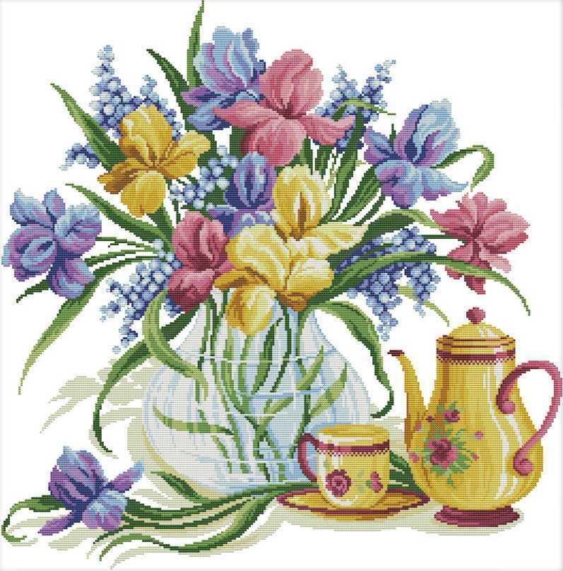 Набір для вишивання хрестом 58х58 Квіти і чай Joy Sunday H728