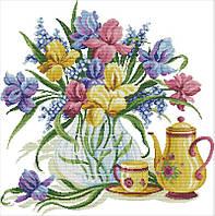Набір для вишивання хрестом 58х58 Квіти і чай Joy Sunday H728, фото 1