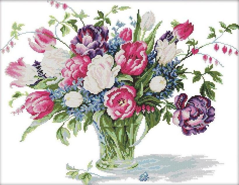 Набор для вышивания крестом 52х42 Букет в прозрачной вазе Joy Sunday H577
