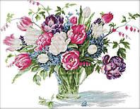 Набор для вышивания крестом 52х42 Букет в прозрачной вазе Joy Sunday H577, фото 1