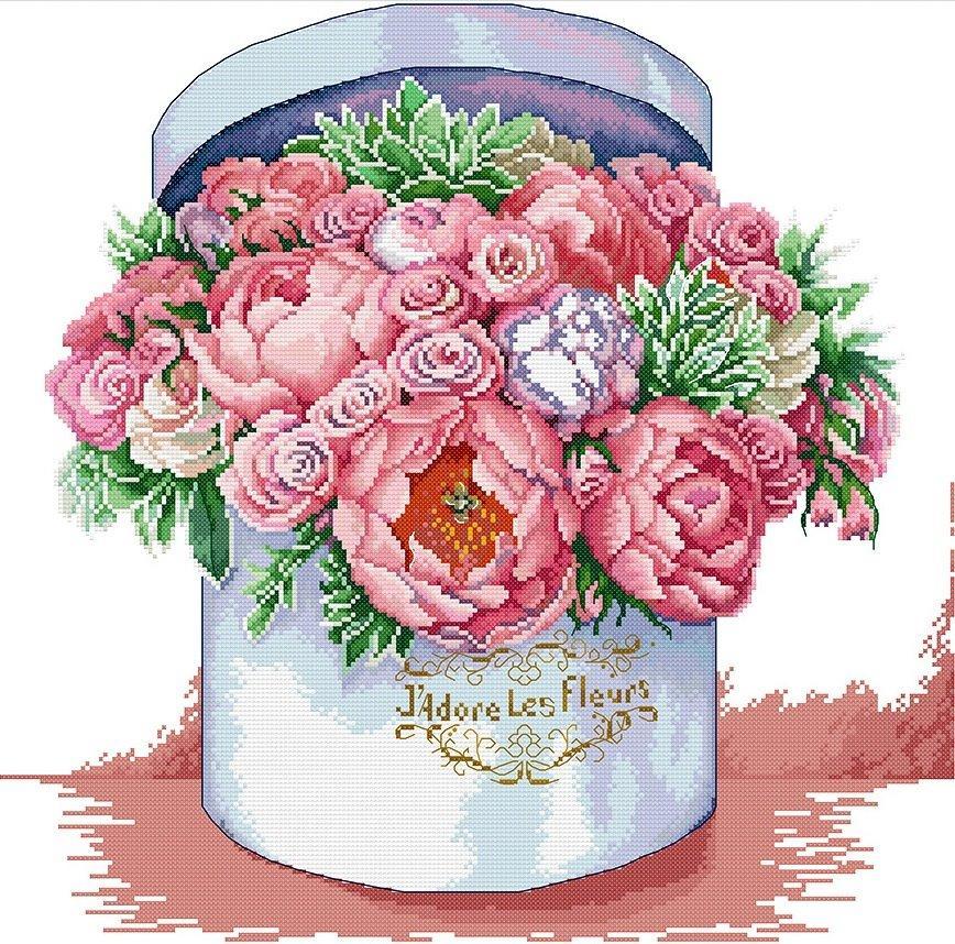 Набір для вишивання хрестом 47х46 Букет рожевих квітів Joy Sunday H763
