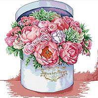 Набір для вишивання хрестом 47х46 Букет рожевих квітів Joy Sunday H763, фото 1