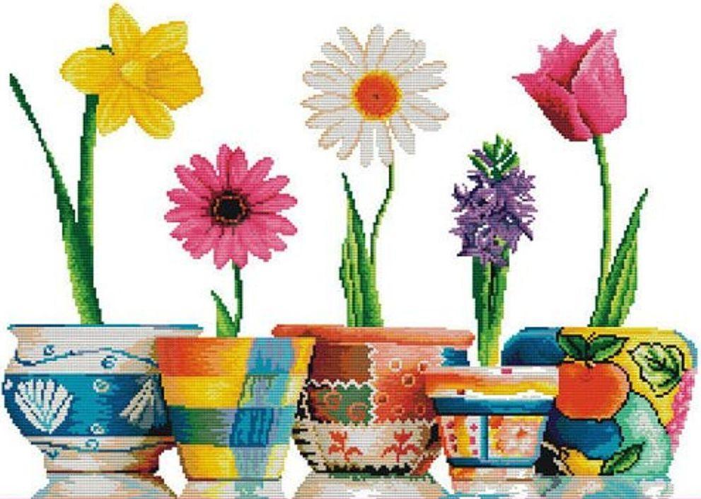 Набір для вишивання хрестом 62х46 Квіти в горщиках Joy Sunday H217