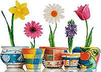 Набір для вишивання хрестом 62х46 Квіти в горщиках Joy Sunday H217, фото 1