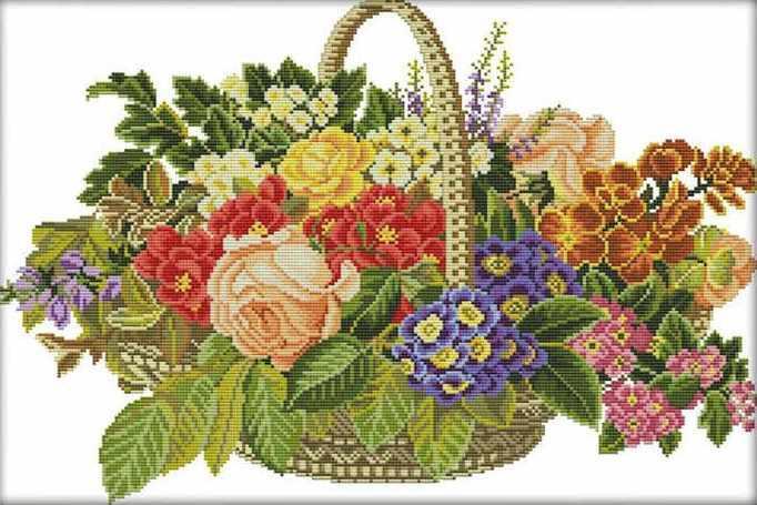 Набір для вишивання хрестом 52х37 Квітковий кошик Joy Sunday H621