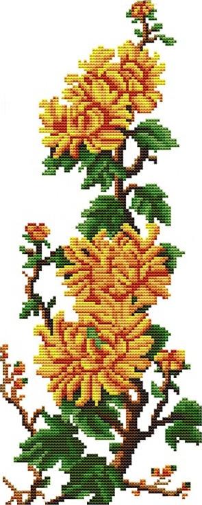 Набор для вышивания крестом 18х41 Хризантемы Joy Sunday H071