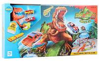 Трек гоночный Динозавр Рекс подвижный с машинкой длина 120 см Звук, батар аналог Hot Wheels 8899-93