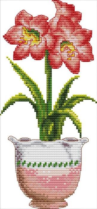Набір для вишивання хрестом 19х38 Червоний квітка Joy Sunday H389