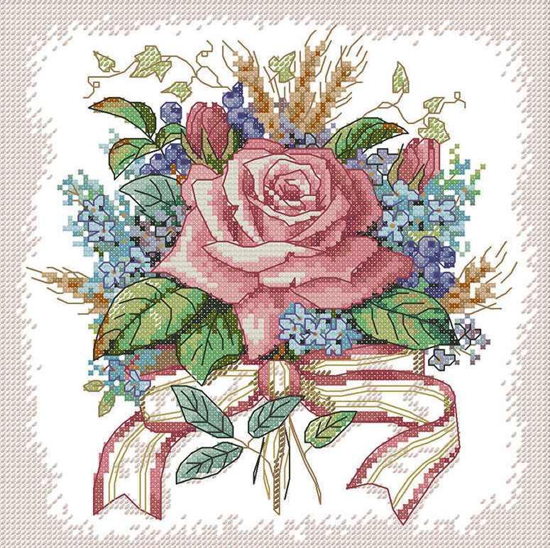 Набір для вишивання хрестом 27х27 Букет квітів Joy Sunday H670