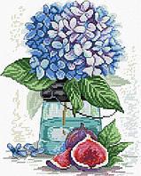 Набір для вишивання хрестом 26х31 Гортензія і інжир Joy Sunday H858, фото 1