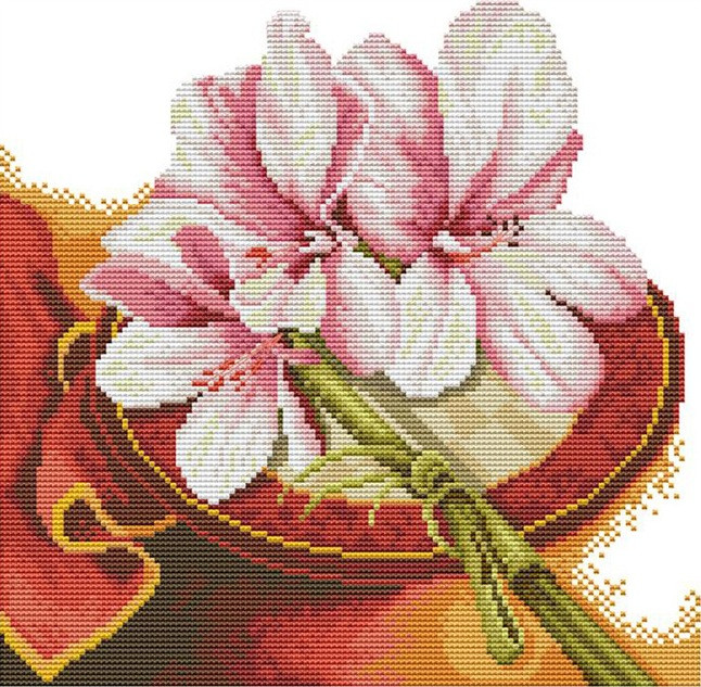 Набір для вишивання хрестом 31х31 Квіти сходу Joy Sunday H571