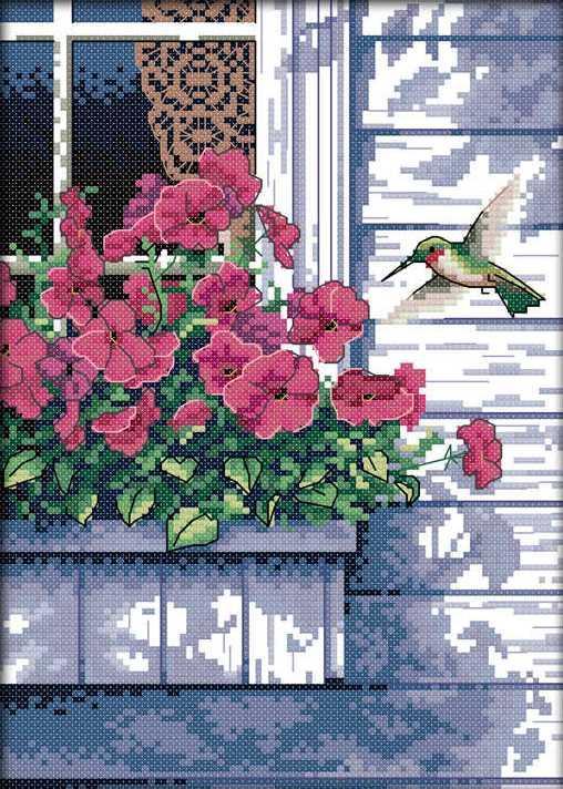 Набір для вишивання хрестом 21х30 Квіти і колібрі Joy Sunday D586
