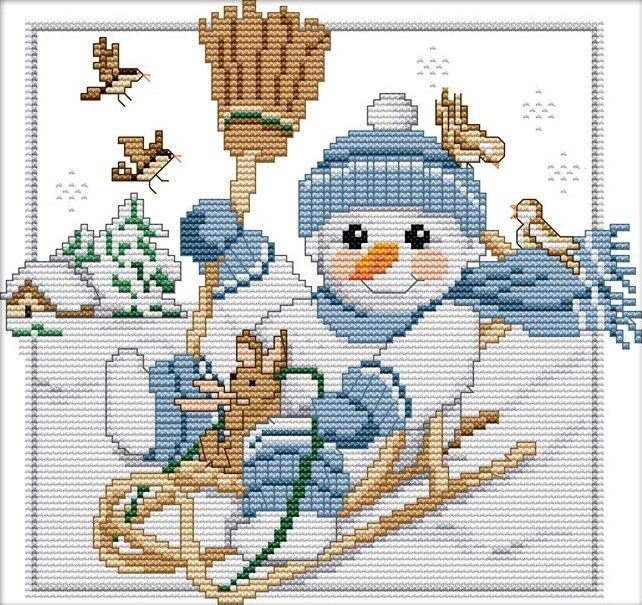 Набір для вишивання хрестом 26х23 Сніговик на санках Joy Sunday K704-2