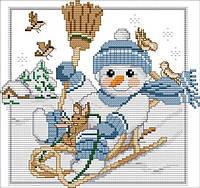 Набір для вишивання хрестом 26х23 Сніговик на санках Joy Sunday K704-2, фото 1