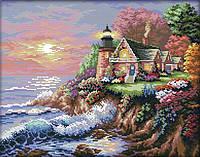 Набор для вышивания крестом 44х36 Маяк на побережье Joy Sunday F682-1