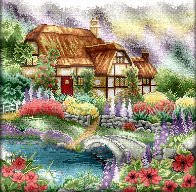 Набір для вишивання хрестом 43х43 Квітучий будиночок Joy Sunday F205