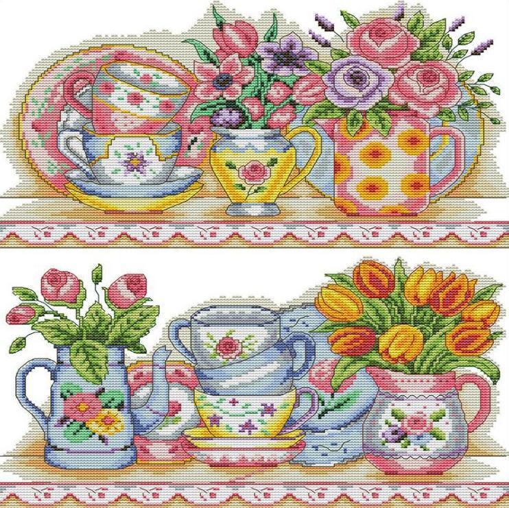 Набір для вишивання хрестом 36х43 Квітковий сервіз Joy Sunday J470