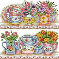 Набір для вишивання хрестом 36х43 Квітковий сервіз Joy Sunday J470, фото 1