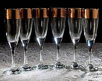 Набор бокалов Кракелюр рубин для шампанского 175 мл, 6 шт.